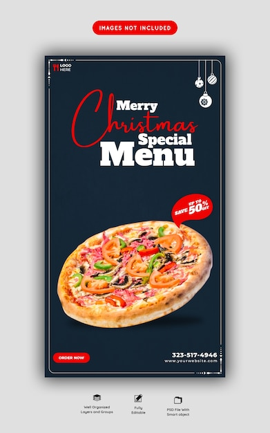 メリークリスマスフードメニューとおいしいピザinstagramとfacebookのストーリーテンプレート 無料 Psd