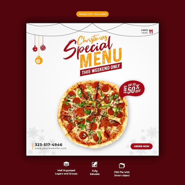 メリークリスマスフードメニューとおいしいピザソーシャルメディアバナーテンプレート Premium Psd
