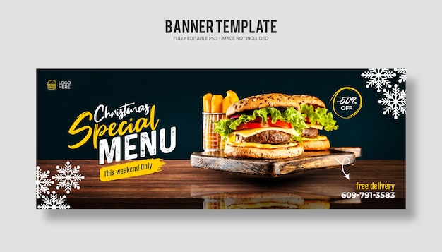 Merry christmas food menu and delicious pizza facebook cover banner template Premium Psd