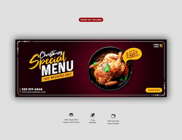 Merry christmas food menu and restaurant facebook cover template Free Psd