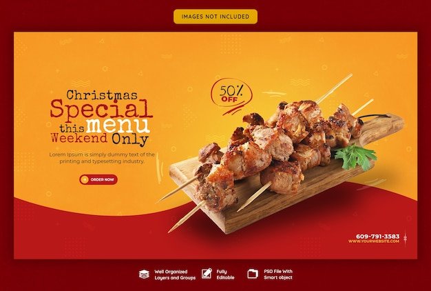 Merry christmas food menu and restaurant web banner template Free Psd