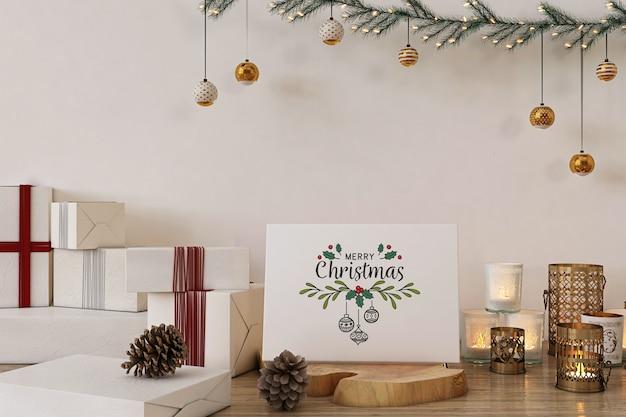 크리스마스 장식 및 선물 메리 크리스마스 인사말 카드 모형 프리미엄 PSD 파일