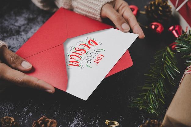 메리 크리스마스 인사말 카드 모형 무료 PSD 파일