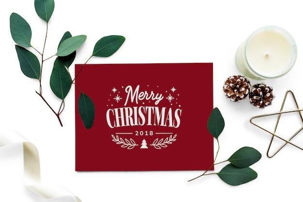 Макет рождественских поздравительных открыток Бесплатные Psd