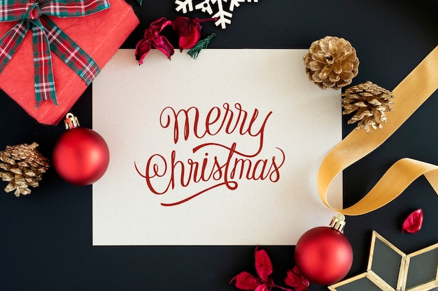Merry christmas greeting card mockup Free Psd