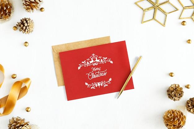 Merry christmas greeting card mockup Free Psd