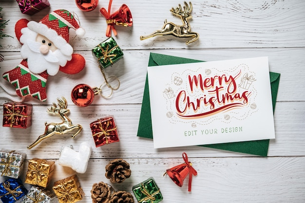 Merry christmas greeting card psd Free Psd