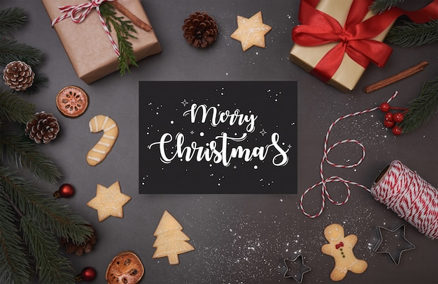 Merry christmas greeting card Premium Psd