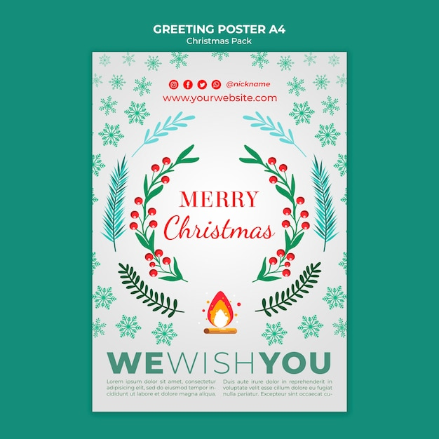 Merry christmas greeting for holidays Free Psd