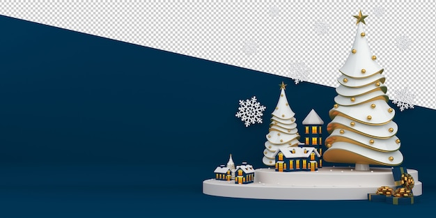 Merry christmas and happy new year 3d rendering Premium Psd
