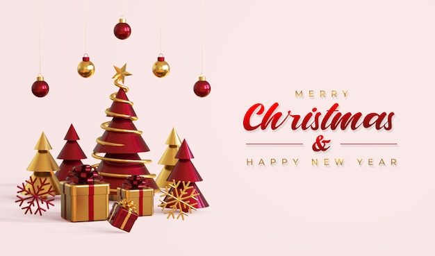 Merry christmas and happy new year banner template with pine tree, gift boxes and hanging lamps Premium Psd