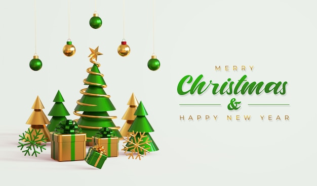 Merry christmas and happy new year banner template with pine tree, gift boxes Premium Psd