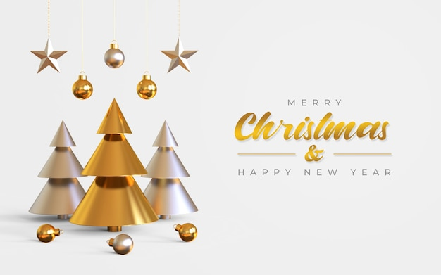 Merry christmas and happy new year banner template with pine tree, hanging lamps and stars Premium Psd