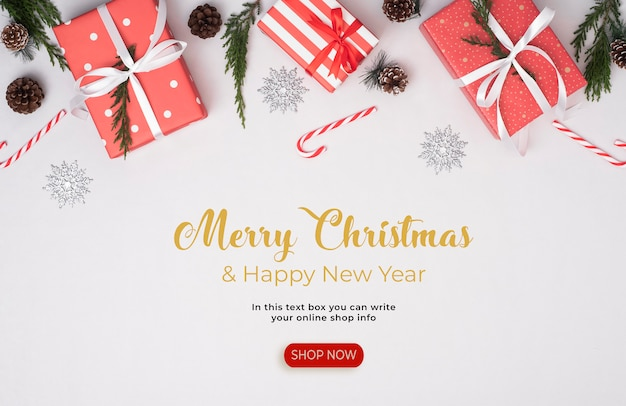 Merry christmas and happy new year banner template Premium Psd