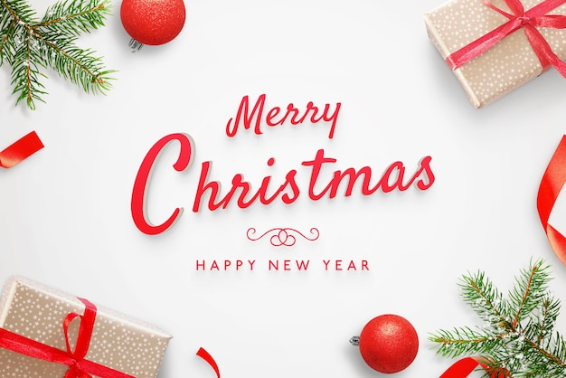 Merry christmas and happy new year greeting card 3d text mockup Premium Psd