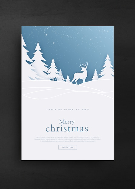 Merry christmas and happy new year greeting card template Premium Psd