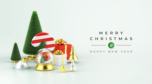 Merry christmas and happy new year mockup with 3d christmas decoration Premium Psd