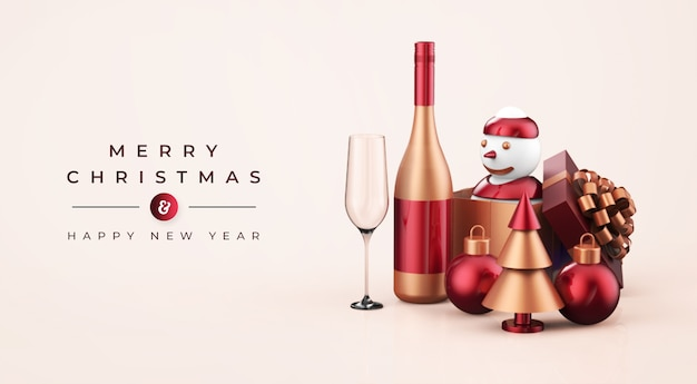 Merry christmas and happy new year mockup Premium Psd