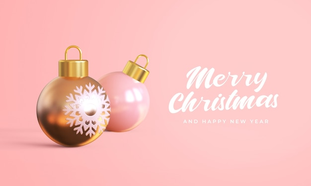 Merry christmas and happy new year with 3d christmas balls mockup Premium Psd
