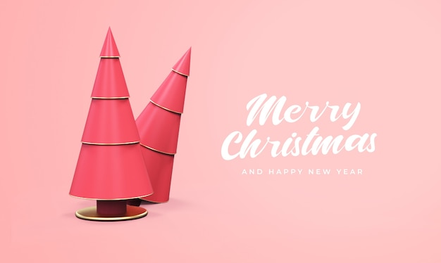 Merry christmas and happy new year with 3d pine tree mockup Premium Psd