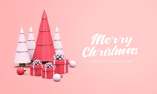 Merry christmas and happy new year with pine trees, gift boxes, and christmas balls mockup Premium Psd