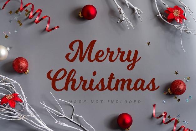 モックアップ装飾が施されたメリークリスマスのレタリング Premium Psd