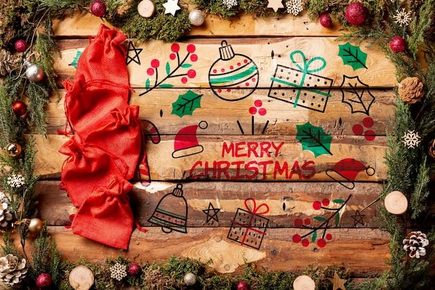 Merry christmas message mock-up on wooden background Free Psd