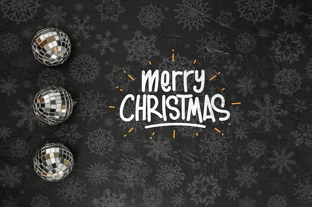 Merry christmas messsage on dark background Free Psd