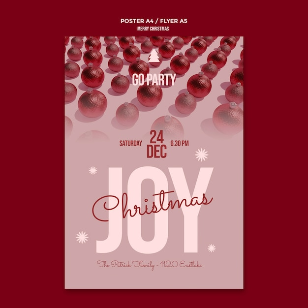 Merry christmas party flyer template Free Psd