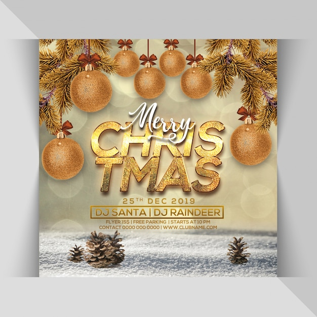 Merry christmas party flyer Premium Psd