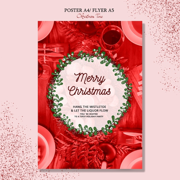 Merry christmas poster concept Free Psd