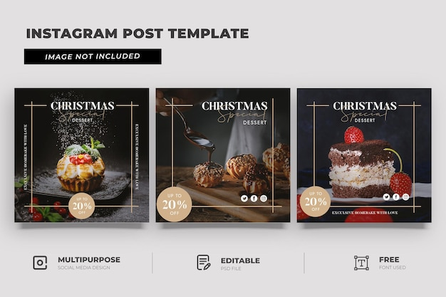 Merry christmas promotion social media post template
