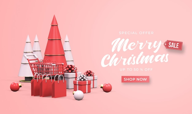 Merry christmas sale banner mockup with trolley, shopping bags, gift boxes, and pine tree Premium Psd