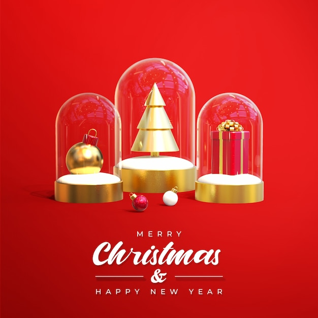 Merry christmas sale banner with 3d objects Premium Psd