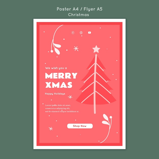 Merry xmas flyer template Free Psd
