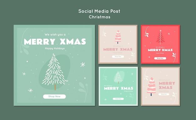 Merry xmas social media post template Free Psd