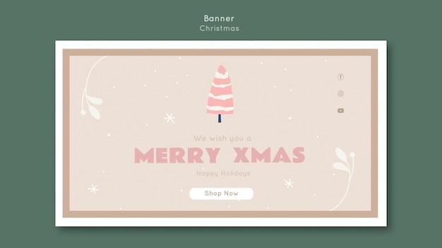 Веселый рождественский шаблон баннера Бесплатные Psd