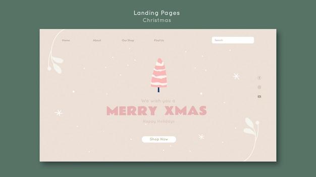 Веселая рождественская целевая страница шаблона Premium Psd