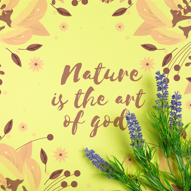 Message about nature on paper sheet with lavender beside Free Psd