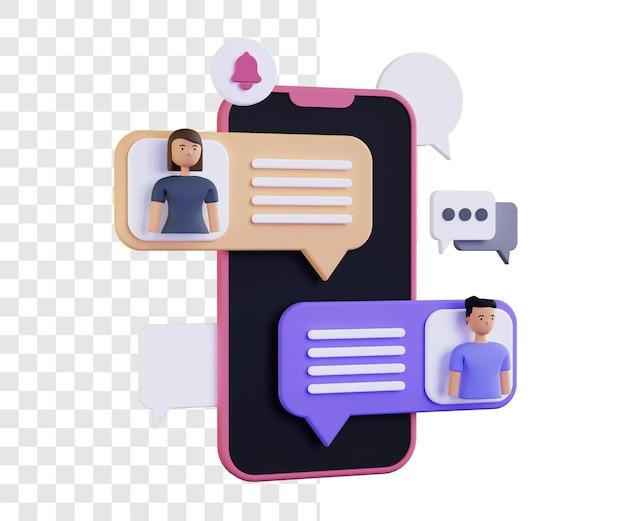 Message notification 3d illustration concept
