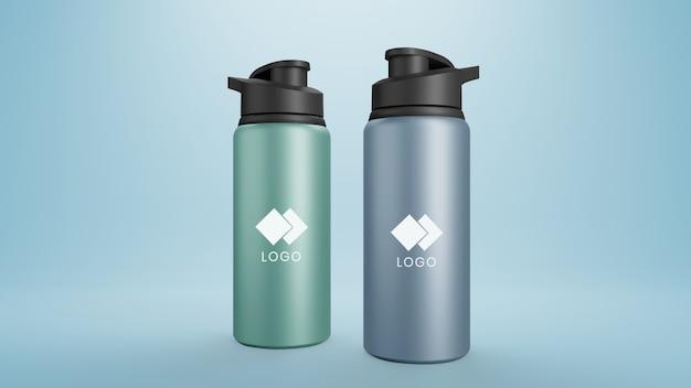 Металлическая бутылка макет Premium Psd