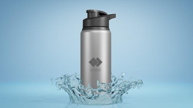 Metal bottle water mockup with splashing water Premium Psd