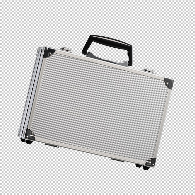 Metal briefcase over white background Premium Psd