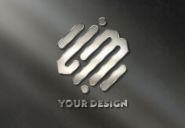 Metal logo on wall bathed in sunlight mockup Premium Psd
