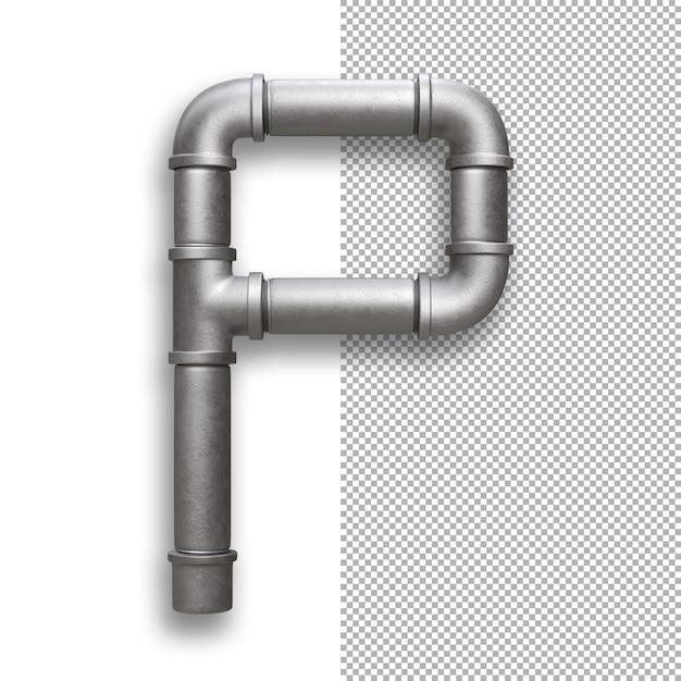 Metal pipe, alphabet p Premium Psd