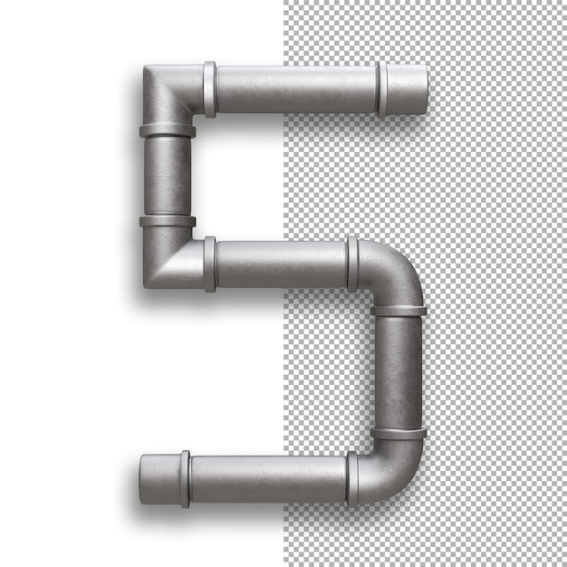 Metal pipe, number 5 Premium Psd