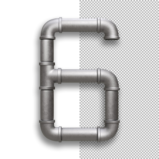 Metal pipe, number 6 Premium Psd