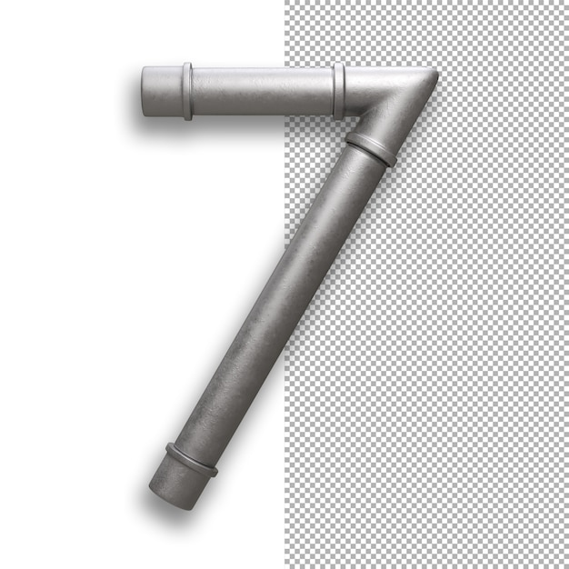 Metal pipe, number 7 Premium Psd