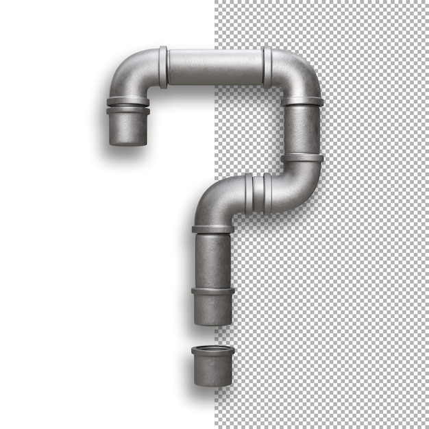 Metal pipe, question mark Premium Psd