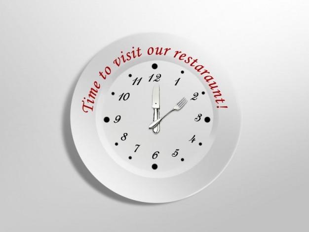 Металлические часы идеально подходят для ресторанов. Бесплатные Psd